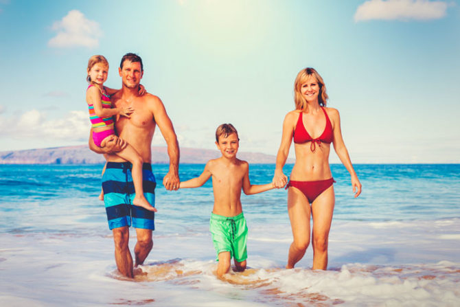 family in the sea